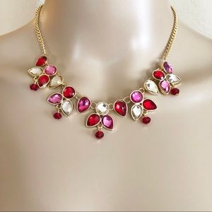 NWT LC Lauren Conrad necklace red & pink stones